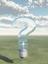 Question Shaped Light Bulb Stock Photo