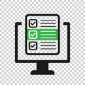 Questionnaire laptop icon in transparent style. Online survey vector illustration on isolated background. Checklist report