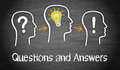 Questions and answers a concept with people drawn on chalkboard Royalty Free Stock Image