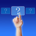 Questions hand press a virtual question button to ask Stock Images