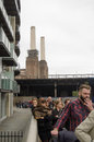 Queue for battersea power station london england september thousands of people the last chance to see inside before redevelopment Stock Image