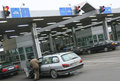Queue of cars waiting at the Polish-Ukrainian border crossing Royalty Free Stock Photo