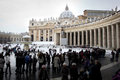Queue at entrance of Basilica of St. Peter. Stock Images
