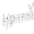 Queue hand drawn black and white sketch in doodle style of people in Royalty Free Stock Images