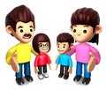 Queue with the Happy a family. 3D Family Character Stock Image