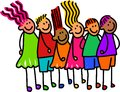 Queue of happy kids whimsical cartoon illustration a group and diverse children standing in a Royalty Free Stock Photos
