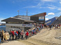 Queue at the middle station of Kitzsteinhorn Stock Photo