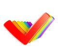 Queue row of rainbow colored ticks Royalty Free Stock Photography