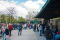 Queue to ticket s office of zoo berlin at holidays berlin entrance Stock Image
