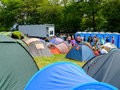 Queuing for showers festival no portmeirion wales september th campers the at the campsite during th september in portmeirion Stock Photos