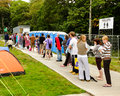 Queuing for showers festival no portmeirion wales september th people to use campsite th september in portmeirion wales uk Stock Image