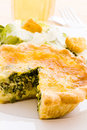 Quiche individual spinach served with salad Royalty Free Stock Photo