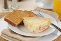 Quiche Lorraine with toast Royalty Free Stock Photography