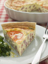 Quiche Lorraine with Watercress salad Stock Photo