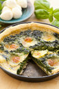 Quiche with mozzarella Stock Photos