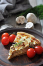 Quiche pie with chicken traditional french and mushroom on a plate Stock Photography