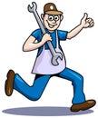 Quick mechanic line art run cartoon image Royalty Free Stock Photos