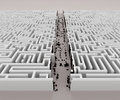 Quick solution a way across a labyrinth quickly found by bringing down the walls Stock Image