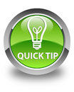 Quick tip (bulb icon) glossy green round button Royalty Free Stock Photo