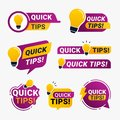 Quick tips logo badge with yellow lightbulb icon vector illustration Royalty Free Stock Photo
