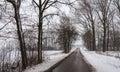 Quiet asphalt road in a wintry snow landscape