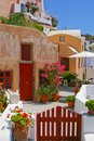 Quiet backyard in Santorini Royalty Free Stock Photography