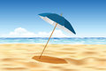 Quiet beach parasol on the vector illustration Royalty Free Stock Images