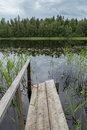 Quiet and calm lake and a wooden pier in Finland Royalty Free Stock Photo