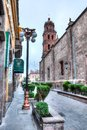 Downtown streets of San Luis Potosi at Sunrise with lampposts Royalty Free Stock Photo