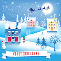 Quiet lovely christmas image winter landscape vector illustration Royalty Free Stock Photos