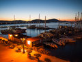Quiet mediterranean port evening scenery in one of the ports Stock Images