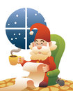 Quiet santa claus reading list at home on sofa with small mouse snow is falling outside Stock Photography