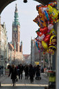 Quiet street life gdansk poland february old town long crowds of tourists visit the lovely places in gdansk poland Stock Images