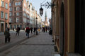 Quiet street life gdansk poland february old town long crowds of tourists visit the lovely places in gdansk poland Royalty Free Stock Photography
