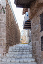 Quiet street in old city Yafo-Israel Royalty Free Stock Photo