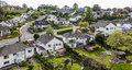 Quiet suburban neighbourhood aerial view a shot of houses in a rural Royalty Free Stock Images