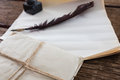 Quill Feather, Ink Pot, And Le...