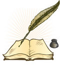Quill Ink Pot and Open Book Vector Illustration Stock Photo