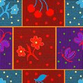 Quilt checkered striped colorful seamless pattern with applique of stylized flower, butterfly,berry