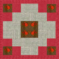 Quilt design n.6, collage for a quilt, red and beige with floral Royalty Free Stock Photo