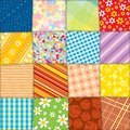 Quilt patchwork texture seamless vector pattern funky textile Stock Photography