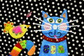 Quilted Bird and Cat Royalty Free Stock Photo
