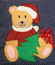 Quilted Christmas teddy bear Royalty Free Stock Images