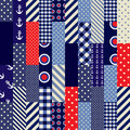 Quilting design in nautical style seamless background pattern Stock Photos