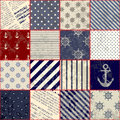 Quilting design in nautical style seamless background pattern will tile endlessly Stock Images