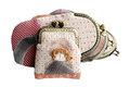 Quilting purses isolated on white background with clipping path the hand sewing crafts Royalty Free Stock Images