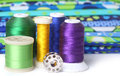 Quilting thread with fabric and copy space sewing Royalty Free Stock Images