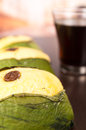 Quimbolito, traditional ecuadorian dessert with coffee Royalty Free Stock Photo