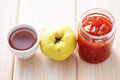 Quince confiture home made goods in jar Stock Photography