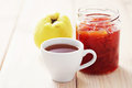 Quince confiture home made goods in jar Royalty Free Stock Photos